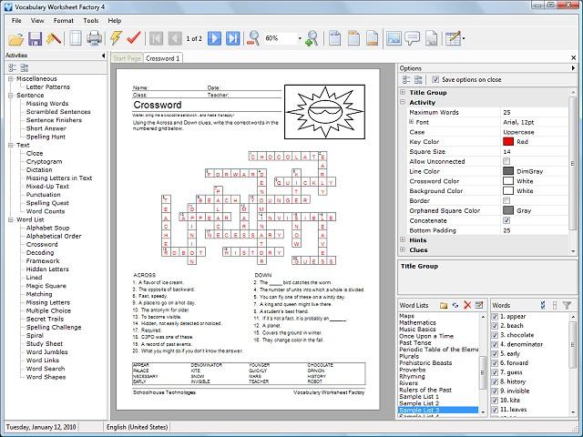 Vocabulary Worksheet Factory